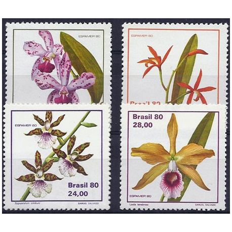 Timbres orchidees Brésil N° 1439/1442 neufs