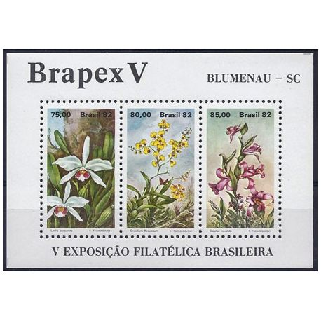 Timbres orchidees Brésil bloc N° 48 neuf