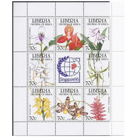Timbres orchidees Libéria N° 1287/94 neufs