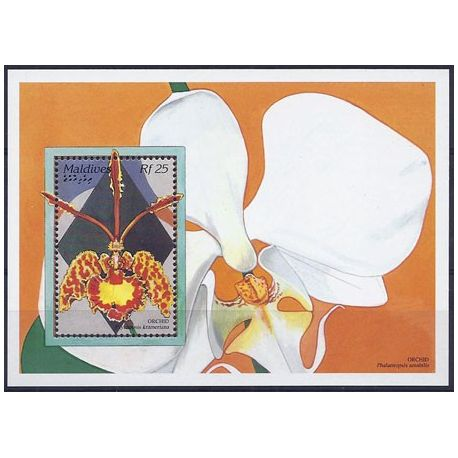 Timbres orchidees Maldives bloc N° 335 neuf