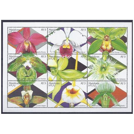 Timbres orchidees Maldives N° 2076/84 neufs