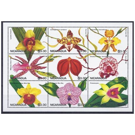 Timbres orchidees Nicaragua N° 2066/74 neufs