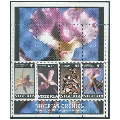Timbres orchidees Nigéria bloc N° 12 neuf