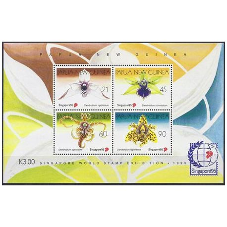 Timbres orchidees Papouasie bloc N° 7 neuf
