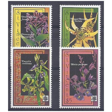 Timbres orchidees St Vincent N° 1230A/D neufs