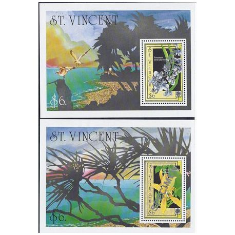 Timbres orchidees St Vincent bloc N° 71A/B neufs