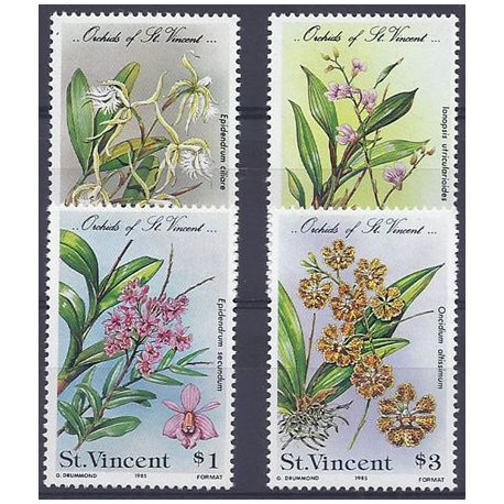Timbres orchidees St Vincent N° 804/807 neufs