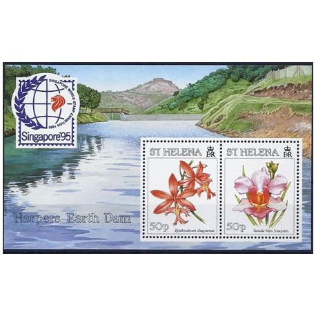 Timbres orchidees Ste Helene bloc N° 14 neuf