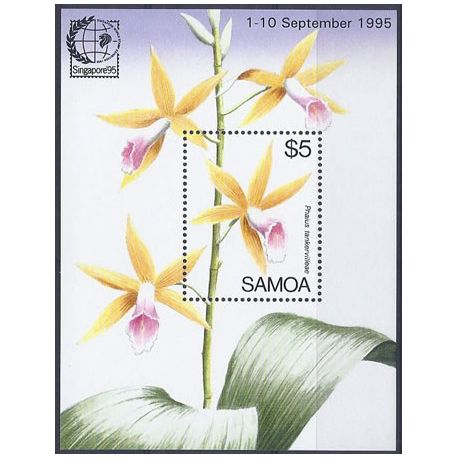 Timbres orchidees Samoa bloc N° 53A neuf