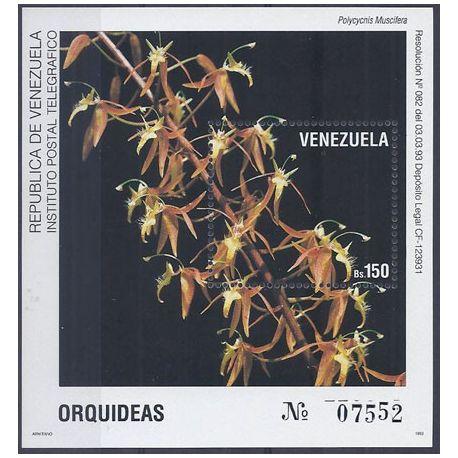 Timbres orchidees Vénézuela bloc N° 38 neuf