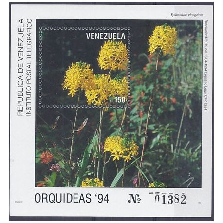 Timbres orchidees Vénézuela bloc N° 40 neuf