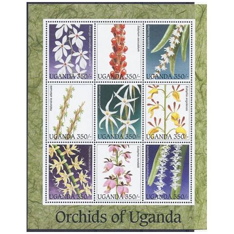 Timbres orchidees Ouganda N° 1330/1338 neufs