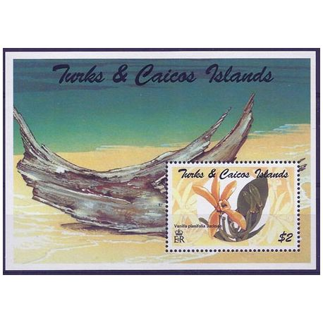 Timbres orchidees Turk et Caiques bloc N° 149 neuf
