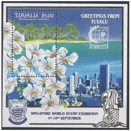 Timbres orchidees Tuvalu bloc N° 51 neuf