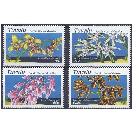 Timbres orchidees Tuvalu N° 685/688 neufs