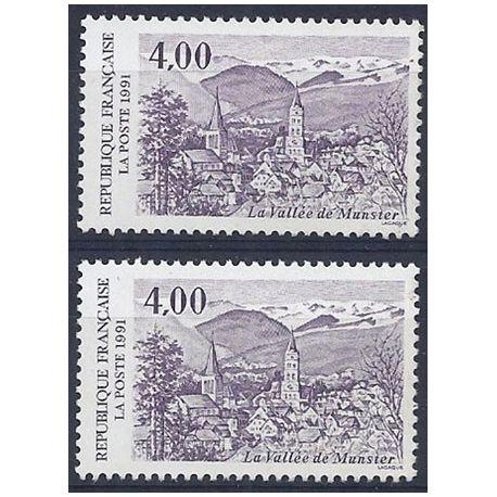 Timbre France Variété N° 2707 1 clair et 1 foncé