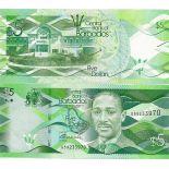Colección de billetes Barbados Pick número 74 - 5 Dollar 2007