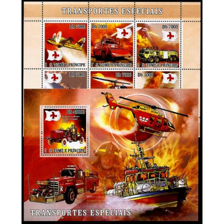 Timbres Pompiers St Thomas N° 2360/65 + BF N° 406