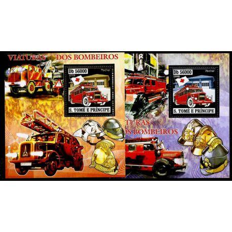Timbres Pompiers St Thomas blocs N° 362 et 363 Or et Argent