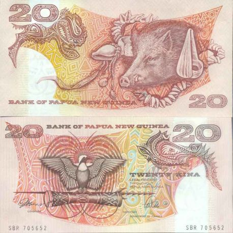 Billet de banque collection Papouasie Nlle Guinee - PK N° 10 - 20 Kina