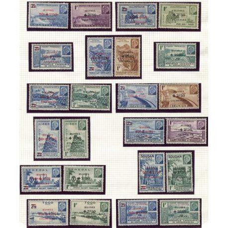 Grande série 1944 Oeuvres coloniales 48 valeurs
