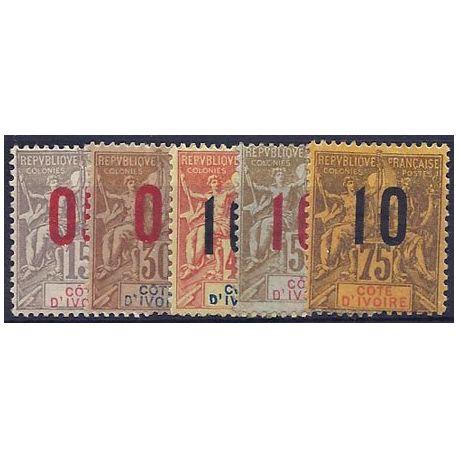 Timbre Cote d'Ivoire N° 36 à 40 neufs charniere