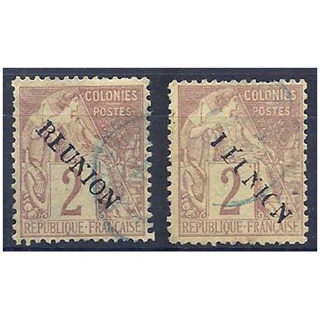 2 timbres Réunion N° 18 avec variétés - oblitérés