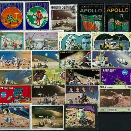 Collection de timbres Voitures Lunaires oblitérés