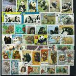 Collezione di francobolli orsi cancellati