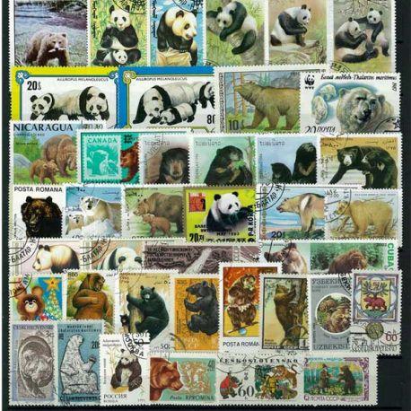 Bär: 25 verschiedene Briefmarken