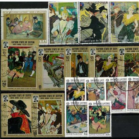 Collection Peinture Collection de timbres Toulouse Lautrec oblitérés à partir de 5,00 €