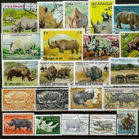 Collection de timbres Rhinoceros oblitérés