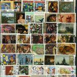 Collection de timbres Tableaux oblitérés
