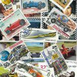 Collezione di francobolli automobili da corsa cancellati