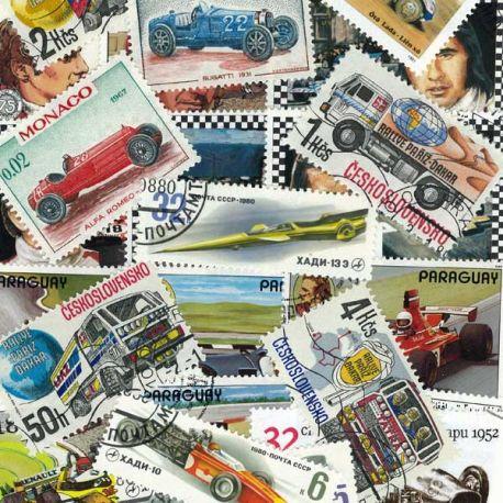 Autos Rennen: 25 verschiedene Briefmarken