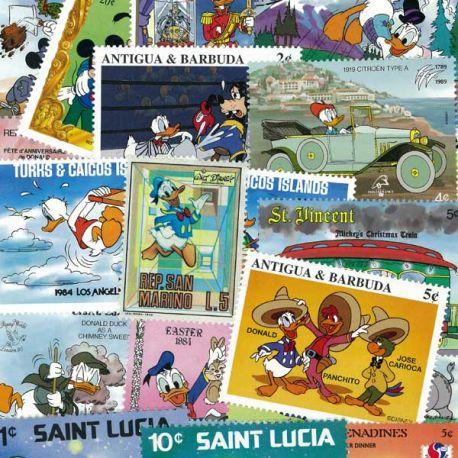 Collection de timbres Walt Disney Donald oblitérés