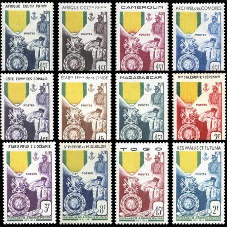 Série Centenaire de la médaille militaire 1952 - 12 valeurs
