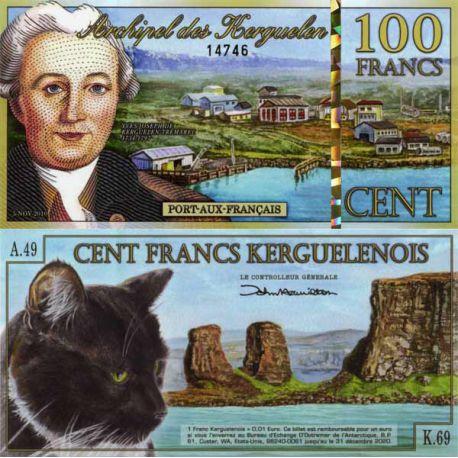 Billet TAAF Kerguelen de 100 Francs