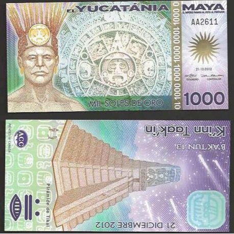 Billet du Yucatan- Maya de 1000 soles de oro