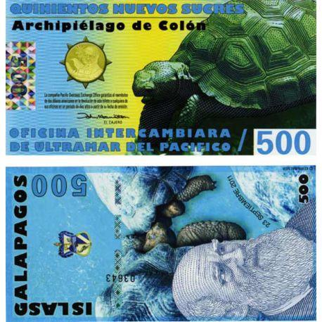Billets de collection Billet Polymére Galapagos de 500 Sucres Billets de l'équateur 4,50 €