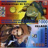 Banconote polimeriche galapagos di 1000 zuccheri