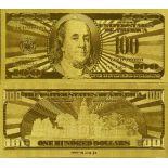 Billet de 100 dollars doré à l'or fin 24K
