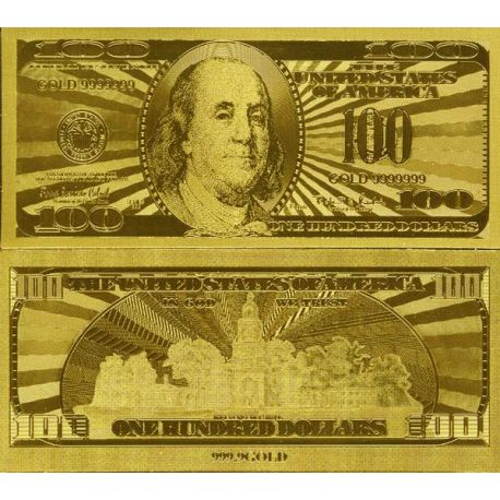 Billets de collection Billet de 100 dollars doré à l'or fin 24K Billets des Etats Unis 29,99 €