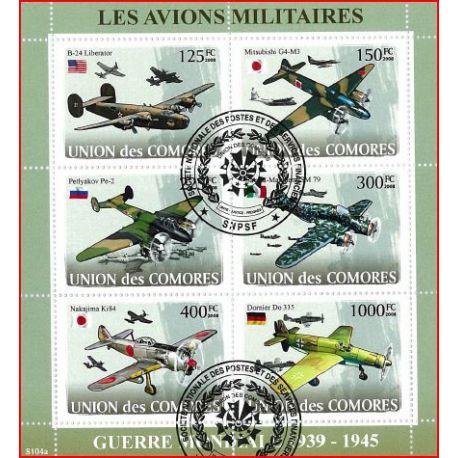 Bloc de 6 timbres des Comores - Avions de la 2nde guerre
