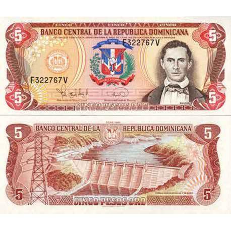 Billets de collection Billet de banque collection Dominicaine Repu. - PK N° 143 - 5 Pesos Billets de République Dominicaine 1...