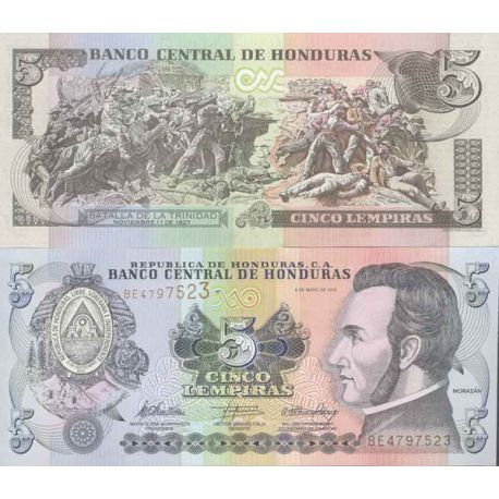 Billets de collection Billet de banque collection Honduras - PK N° 91C - 5 Lempiras Billets du Honduras 3,00 €