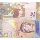 Los billetes de banco Venezuela Pick número 90 - 10 Bolivar