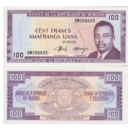 Billets de collection Billet de collection Burundi Pk N° 29 - 100 Francs Billets du Burundi 7,00 €