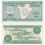 Precioso de billetes Burundi Pick número 33 - 10 FRANC 1975