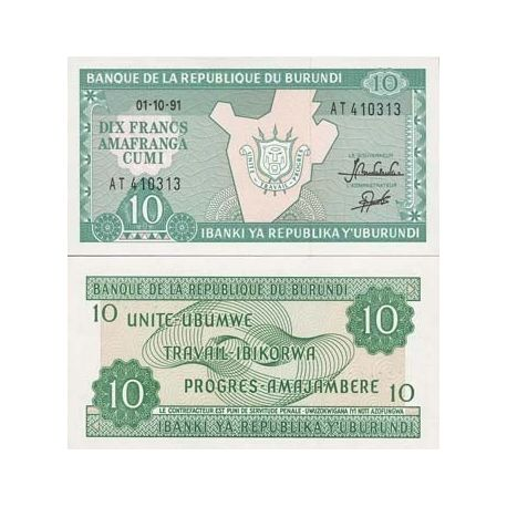 Billets de banque Burundi Pk N° 33 - 10 Francs